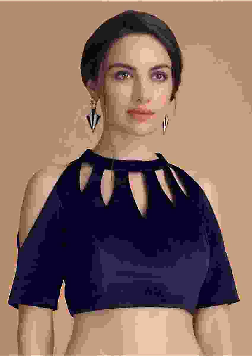 Navy Blue Blouse In Velvet With Cut Out On The Neckline Online - Kalki Fashion
