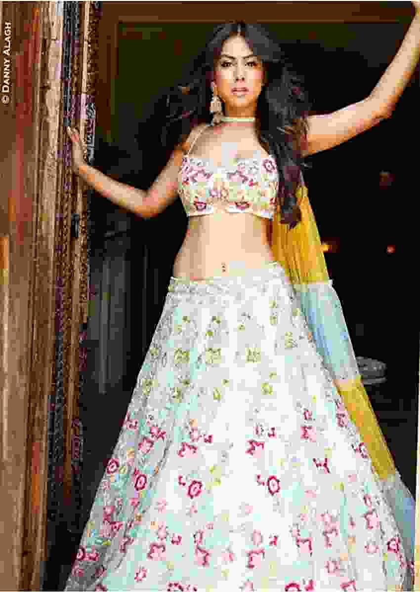 Nia Sharma in Kalki Powder Blue Lehenga Choli In  Net With Colorful Floral Embroidery