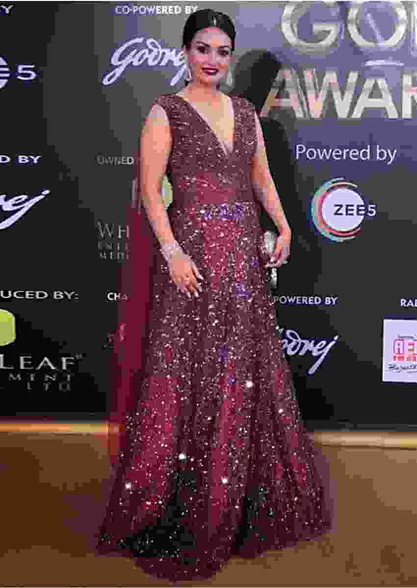 Nisha Rawal In Kalki Wine Gown In Embellished Net With Sequins And Cut Dana Work