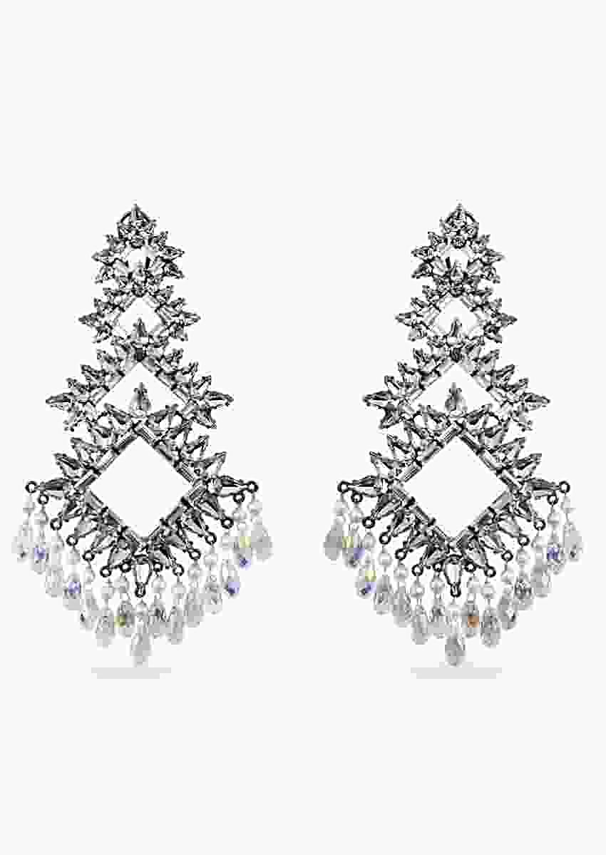 Noir Earrings In Geometric Design With Swarovski And Illuminating Dangling Crystals By Prerto