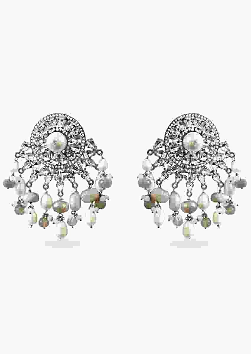 Noir Earrings With Glinting Swarovski Crystals And Semi Precious Stones In Ethnic Design By Prerto