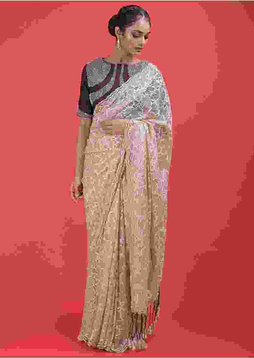 Nude Beige Saree In Floral Lace With Sequins And A Dark Purple Blouse  Online - Kalki Fashion