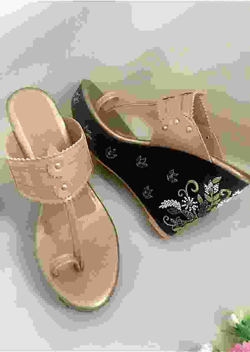 Nude Gold Kolhapuri Wedges With Black Embroidered Heel By Sole House