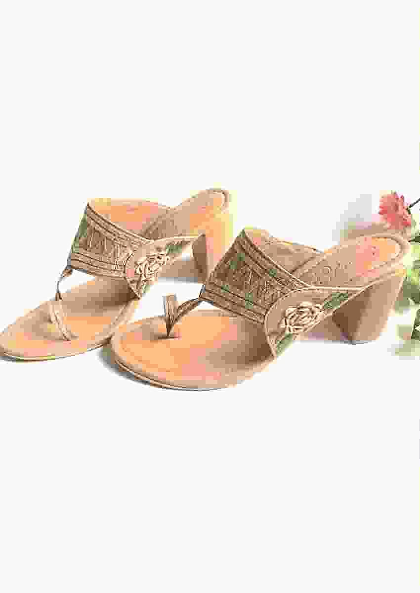 Nude Kolhapuris With Block Heel And Zari Work By Sole House