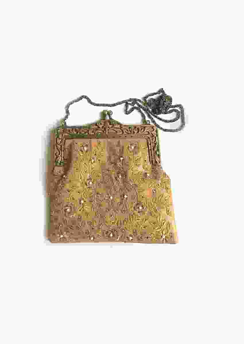 Nude Leather Clutch With Antique Gold Baroque Inspired Embroidery By Sole House