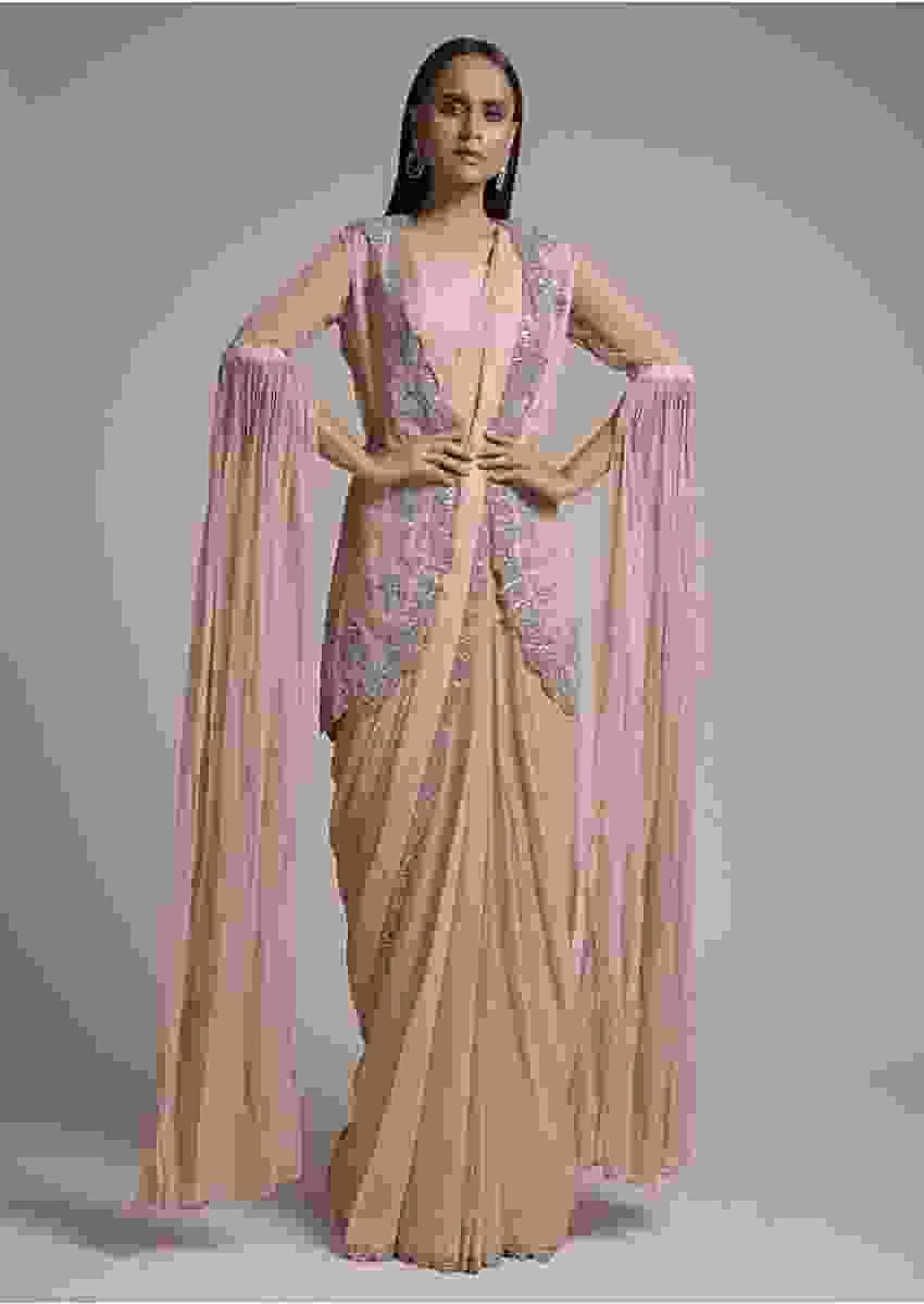 Nude Pink Ready Pleated Saree Set With Cut Dana Embellished Organza Jacket Having Long Floor Length Sleeves Online - Kalki Fashion