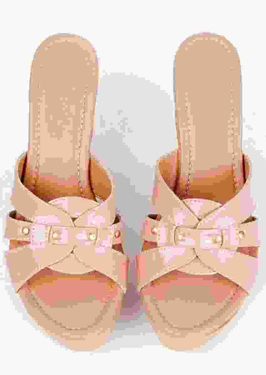 Nude Pink Wedges With Resham Embroidered Floral Design On The Heel By Sole House
