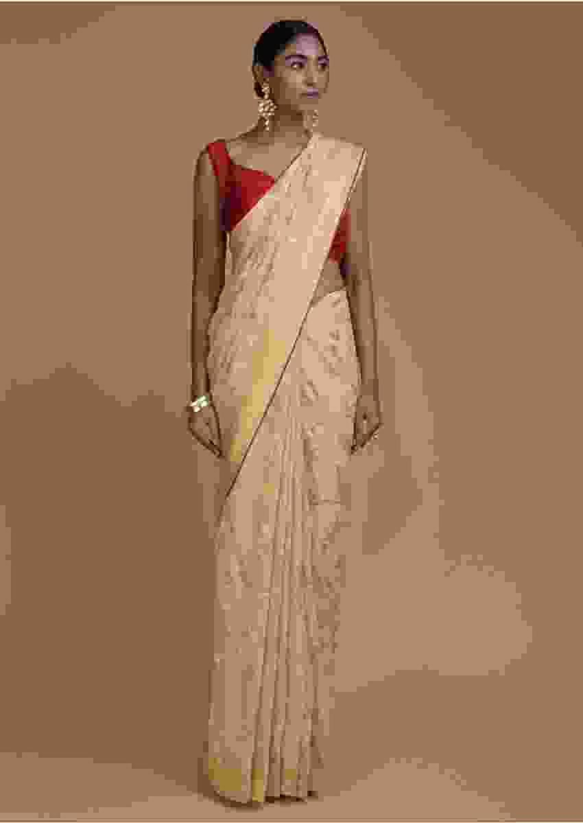 Oat Beige Saree In Jute Blend With Weaved Floral Jaal All Over Online - Kalki Fashion