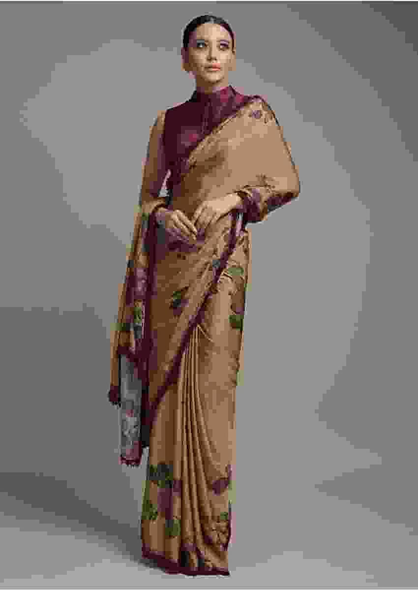Oat Beige Saree In Satin Crepe With Floral Print And Fancy Lace On The Border Online - Kalki Fashion