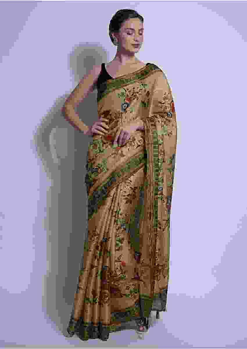 Oat Beige Saree In Silk With Print In Floral Motifs Online - Kalki Fashion