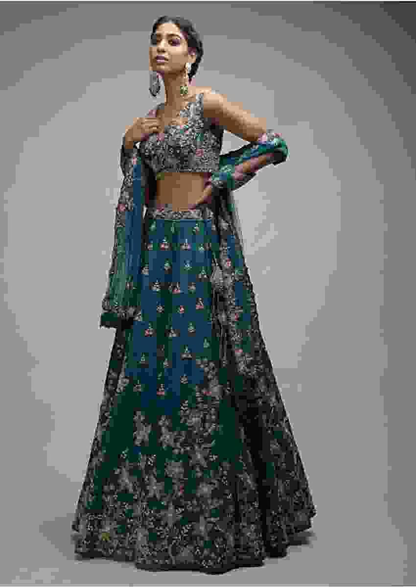 Ocean Green Lehenga Choli In Raw Silk With Resham Embroidered Spring Blossoms Online - Kalki Fashion