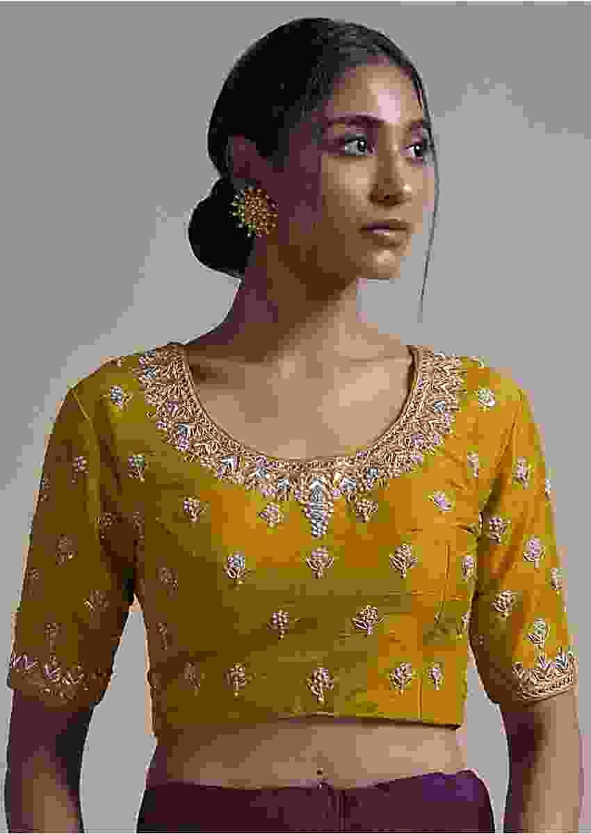 Ochre Yellow Blouse In Raw Silk With Zardosi Embroidered Buttis And Round Neckline Online - Kalki Fashion