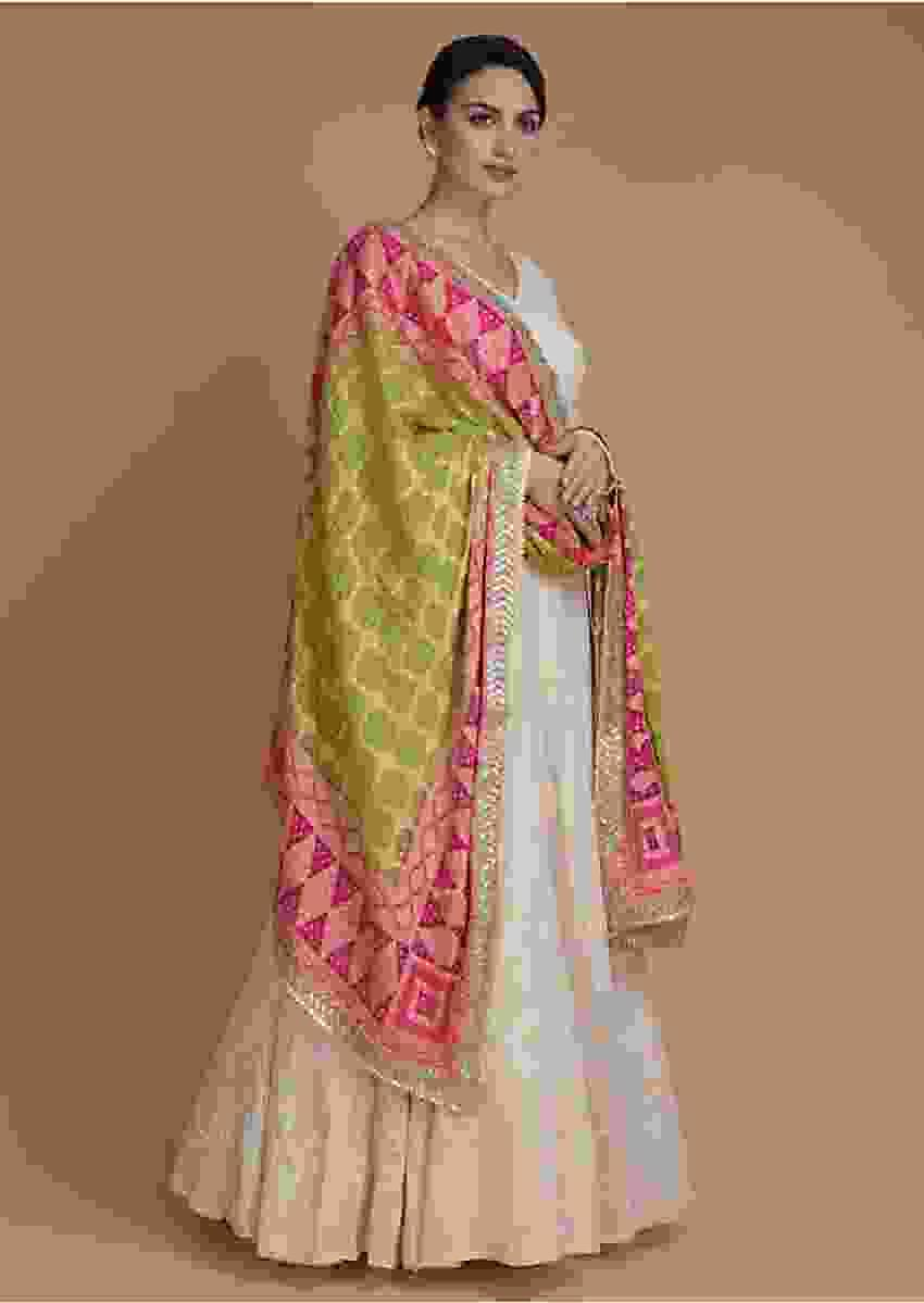 Off White Anarkali Suit With Lucknowi Work And Bandhani Dupatta Online - Kalki Fashion