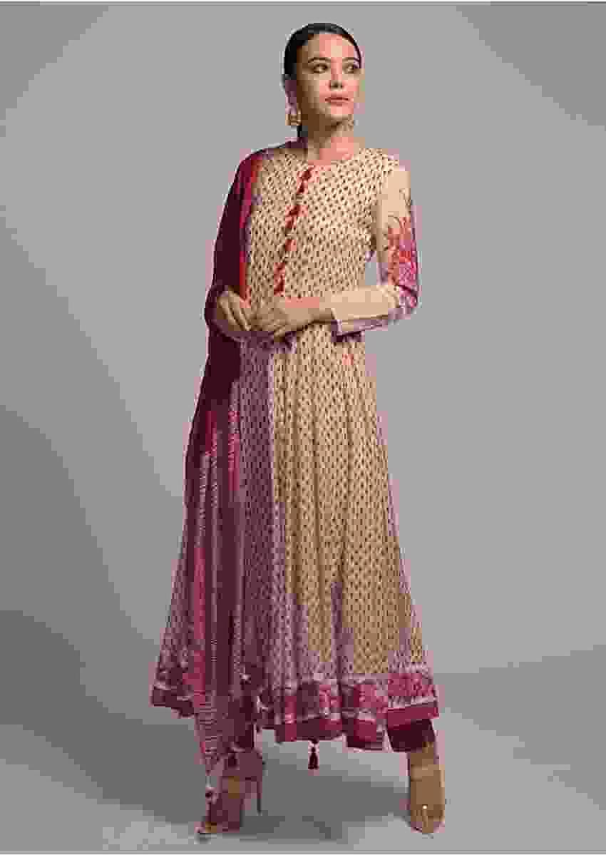 Off White Anarkali Suit With Printed Buttis And Floral Design Online - Kalki Fashion