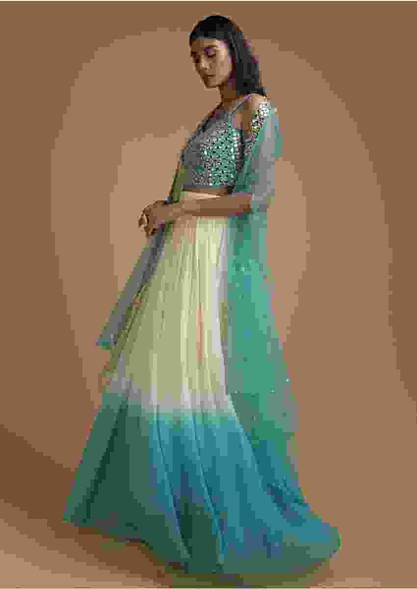 Off White And Aqua Blue Ombre Jacket Lehenga With Abla Embellished Crop Top Online - Kalki Fashion