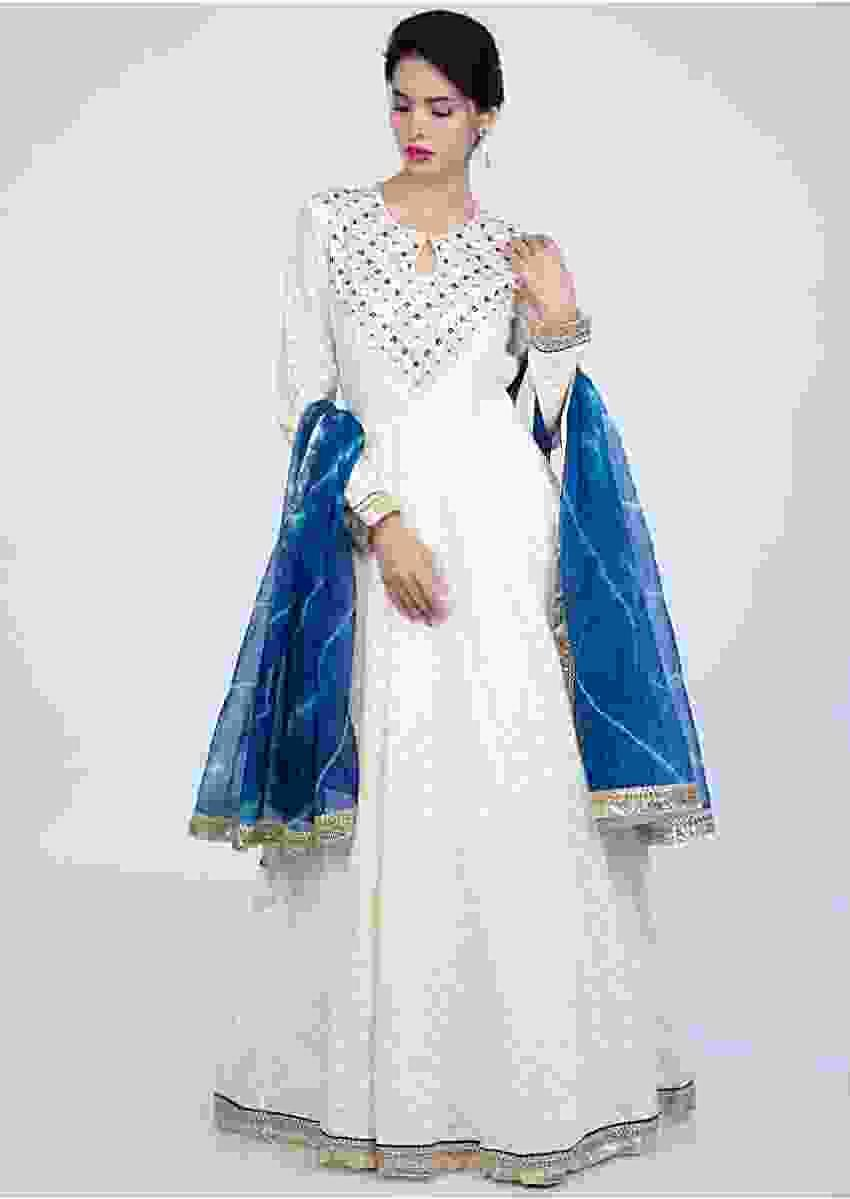 Off White Anarkali In Jacquard Cotton Online - Kalki Fashion