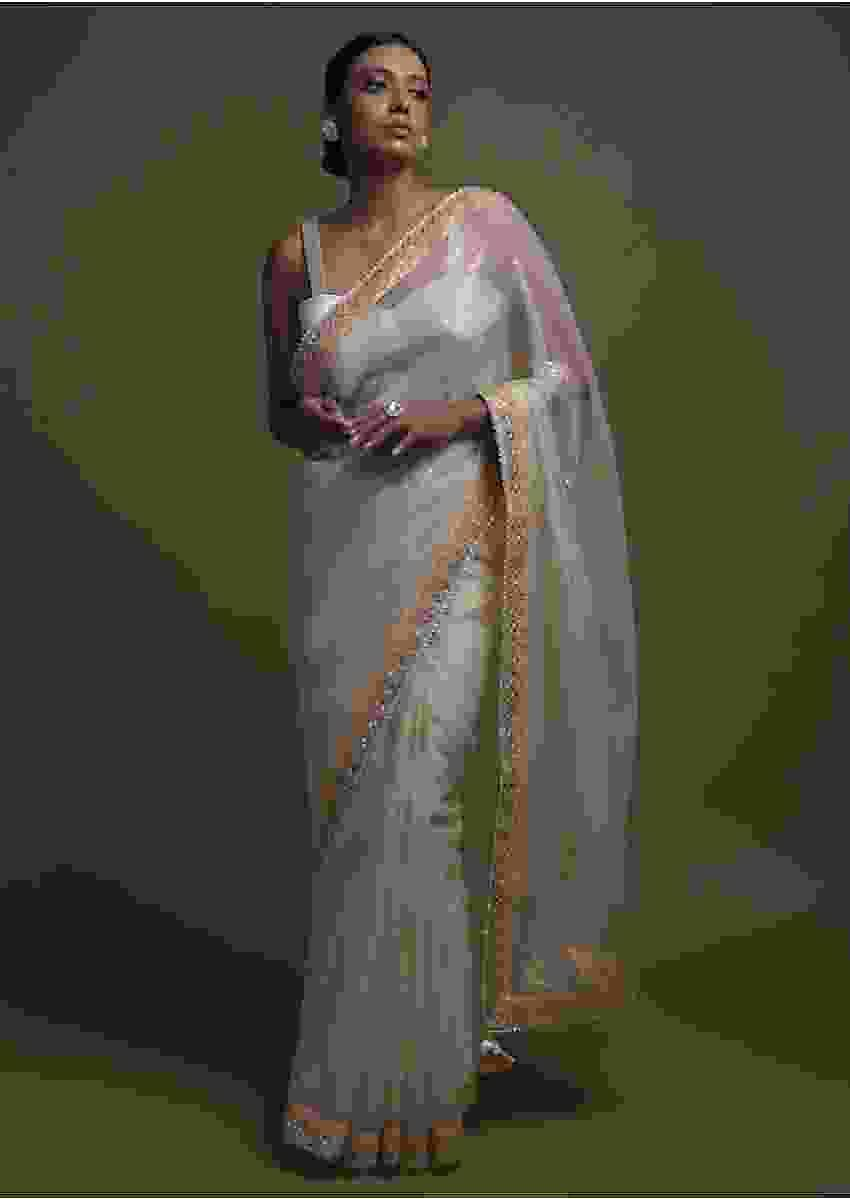Off White Saree In Organza With Foil Printed Floral Buttis And Gotta Lace On The Border Online - Kalki Fashion
