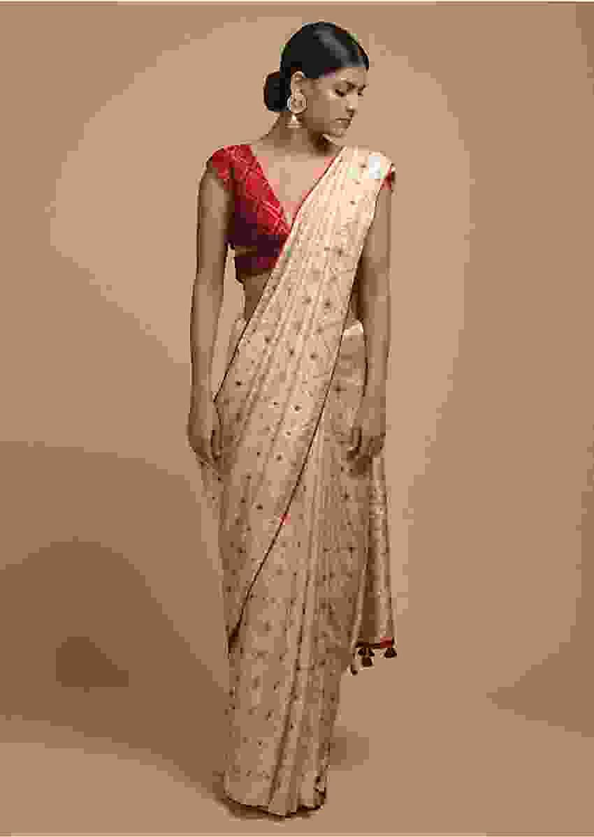 Off White Saree In Silk With Woven Geometric Jaal Design Online - Kalki Fashion