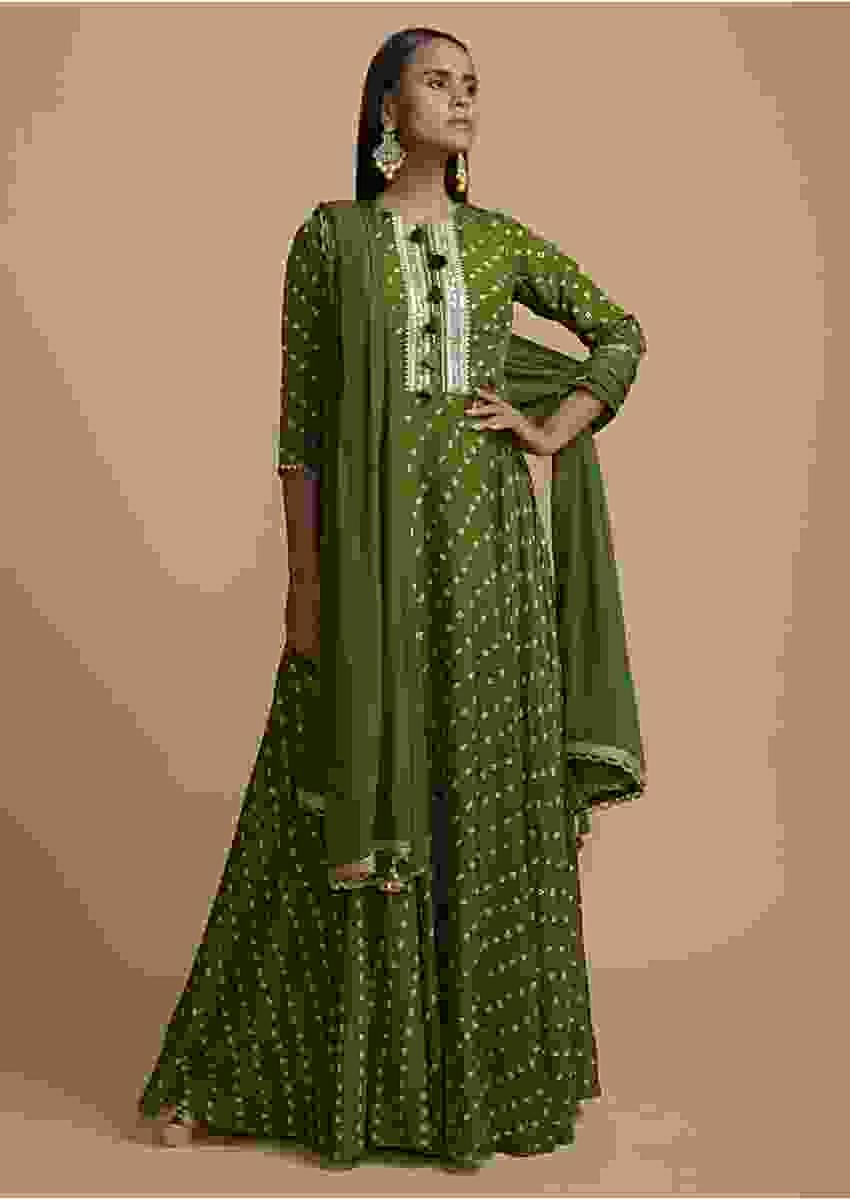 Olive Green Anarkali Suit In Silk Blend With Bandhani Print All Over Online - Kalki Fashion