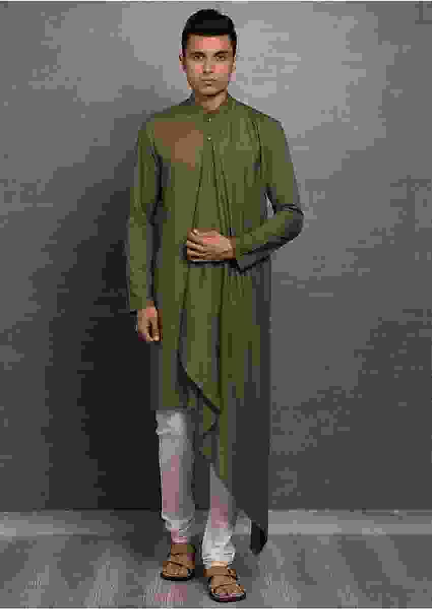 Olive Green Asymmetric Solid Kurta Online - Kalki Fashion