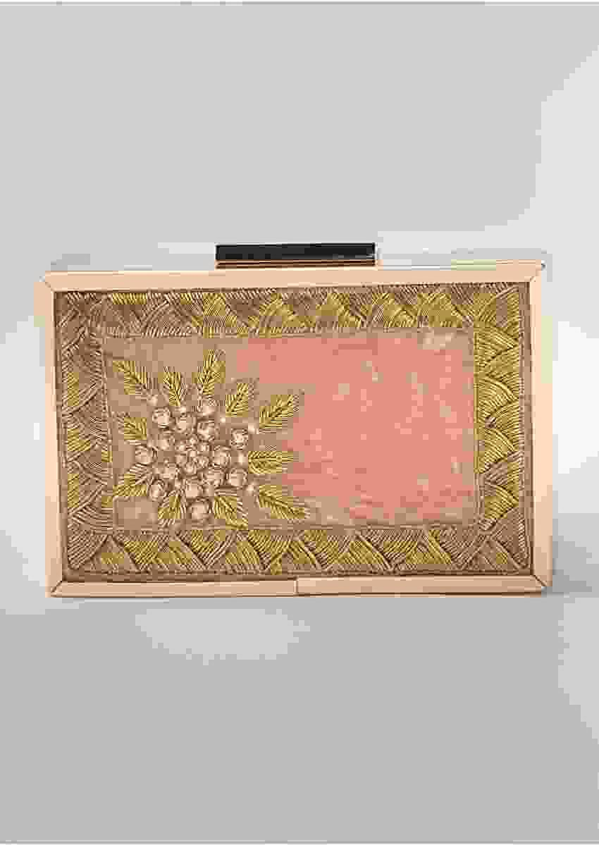 Onion Pink Box Clutch In Velvet Heavily Embroidered With Zardozi And Pearls By Vareli Bafna