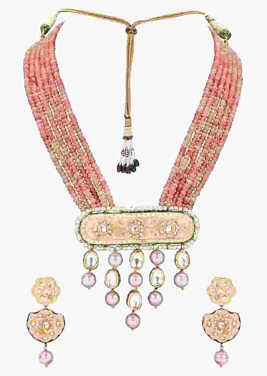 Orange Agate Beads Multi Strand Heritage Necklace Set With Enamelled Pendant And Pearl Drops Online - Joules By Radhika