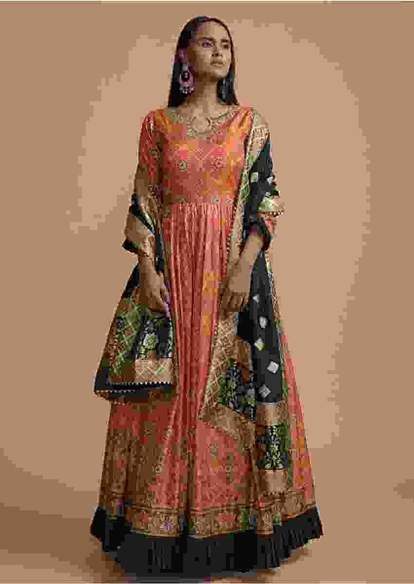 Orange Anarkali Suit In Silk With Bandhani And Patola Printed Jaal Design Online - Kalki Fashion