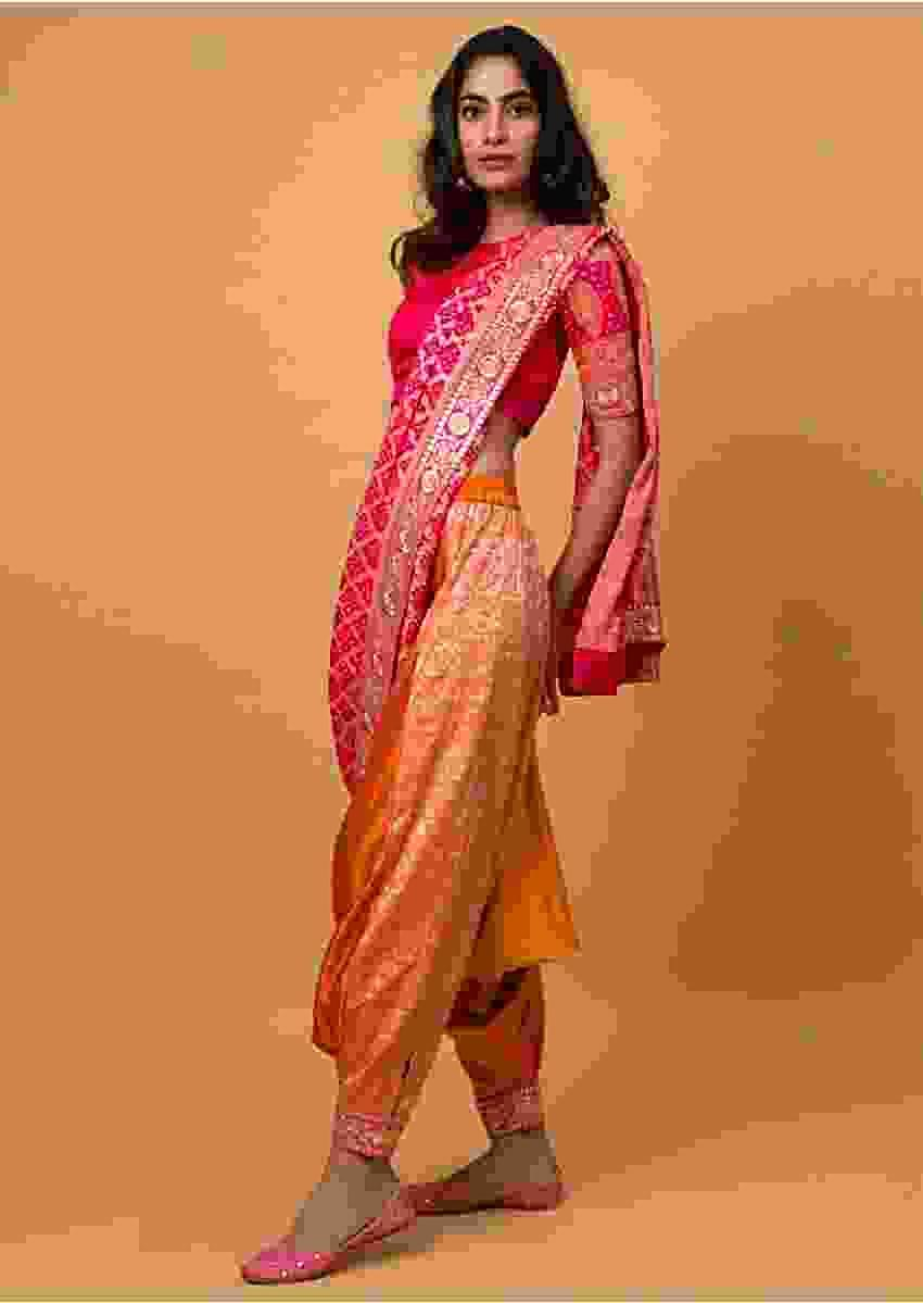 Orange And Fuchsia Shaded Dhoti Saree In Georgette With Brocade Jaal All Over Online - Kalki Fashion