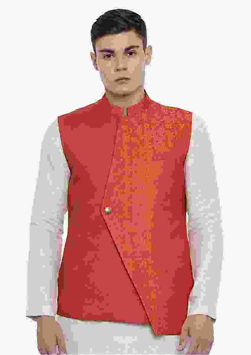 Orange And Gold Nehru Jacket With Weaved Pattern On One Side By Mayank Modi
