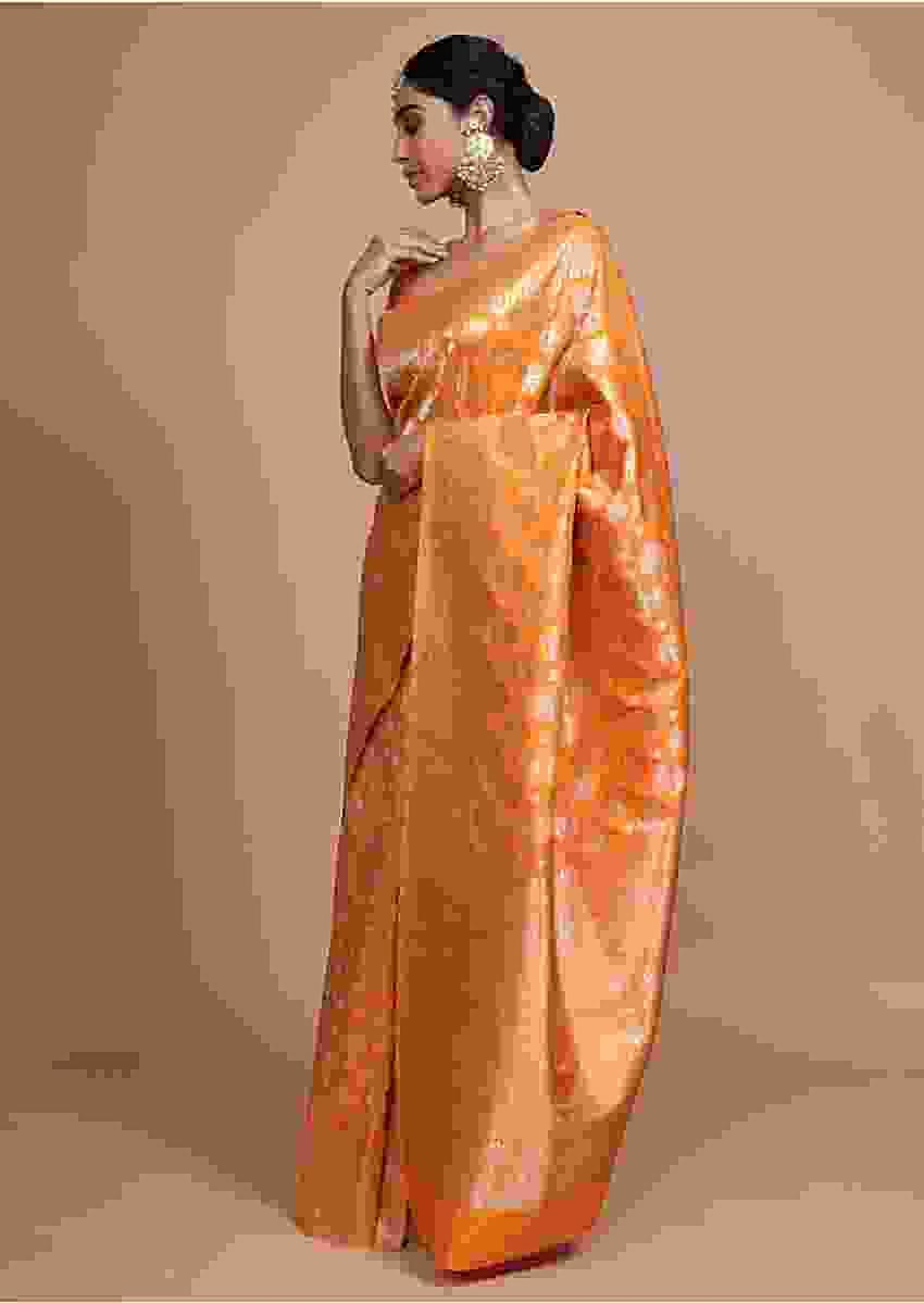 Orange Banarasi Saree In Silk With Weaved Floral Buttis Online - Kalki Fashion
