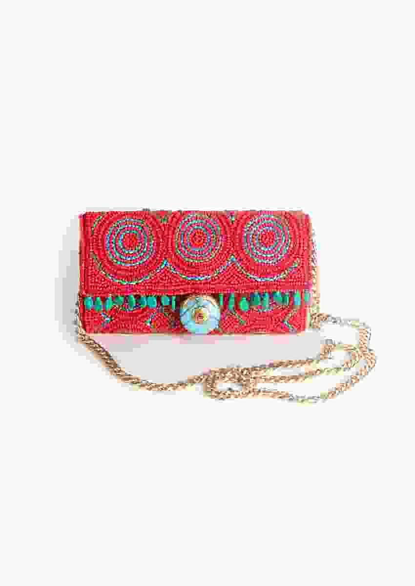 Orange Hand Embroidered Bag With Turquoise Lock Stone And Beads Work By Sole House