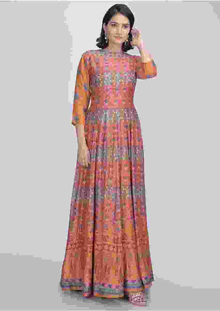 Orange Multi Colored Anarkali Suit In Cotton Silk With Patola Print Online - Kalki Fashion