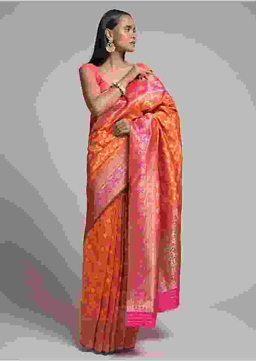 Orange Saree In Silk With Woven Bandhani And Mesh Design And Contrasting Magenta Border Online - Kalki Fashion
