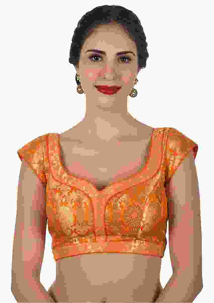 Orange Blouse In Brocade Silk Online - Kalki Fashion