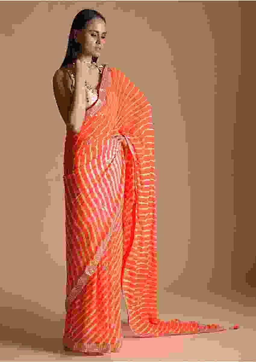Orange Saree With Lehariya Print And Gotta Patti Embroidered Buttis And Border Online - Kalki Fashion