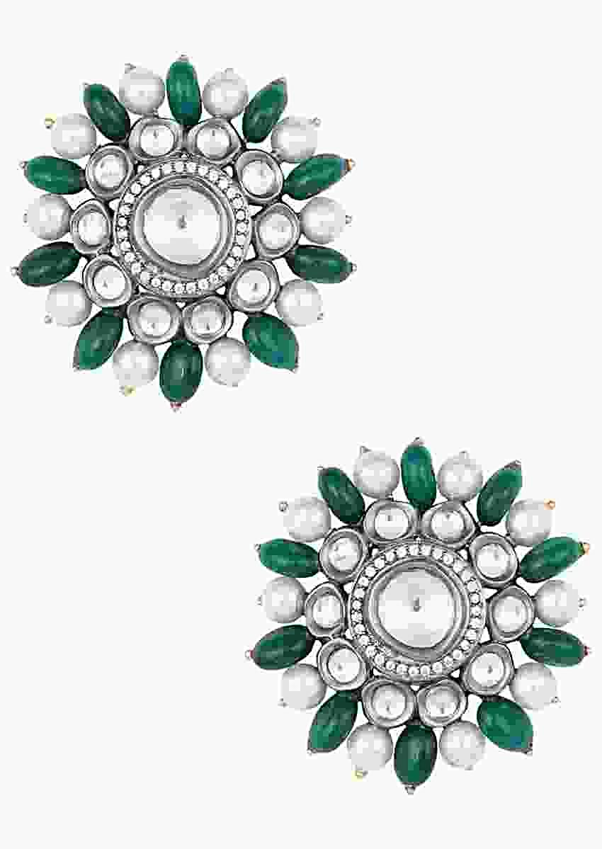 Oversized Floral Stud Earrings With Kundan, Pearls And Faux Emeralds By Aster