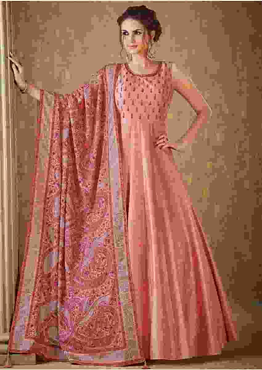 Pale Peach Anarkali Suit In Raw Silk With Kashmiri Thread Embroidery In Paisley Motif Online - Kalki Fashion