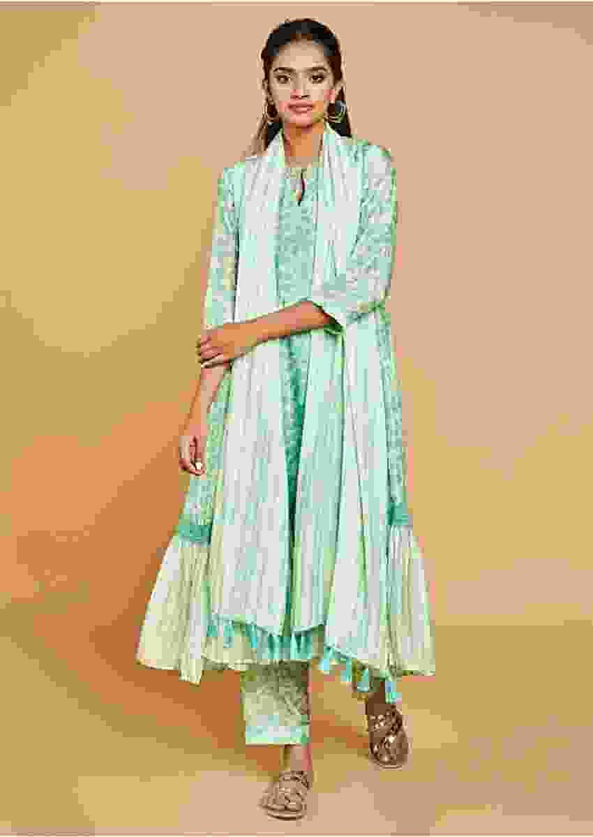 Paradise Green Anarkali Suit In Cotton With Floral Print And Striped Frill On The Hem Online - Kalki Fashion
