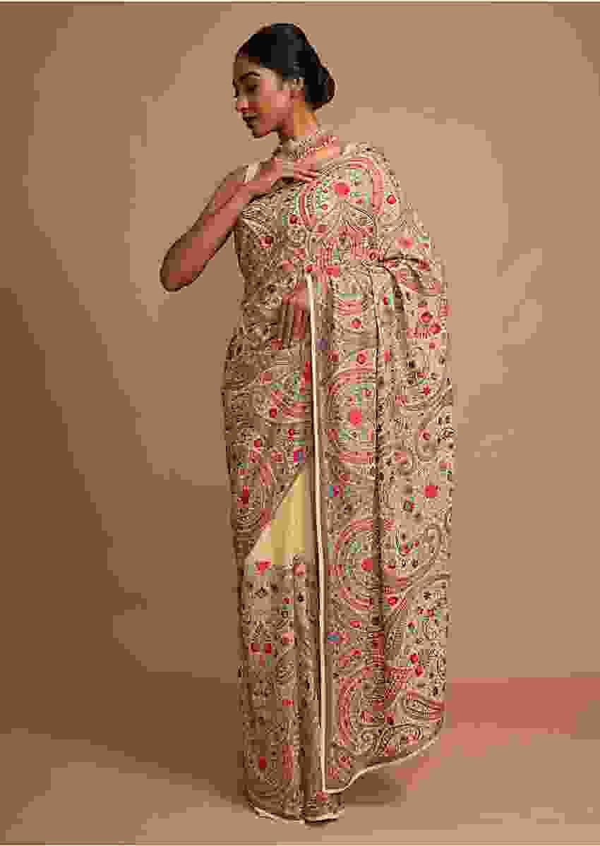 Parmesan Beige Saree With Kashmiri Embroidery In Floral Jaal Design Online - Kalki Fashion