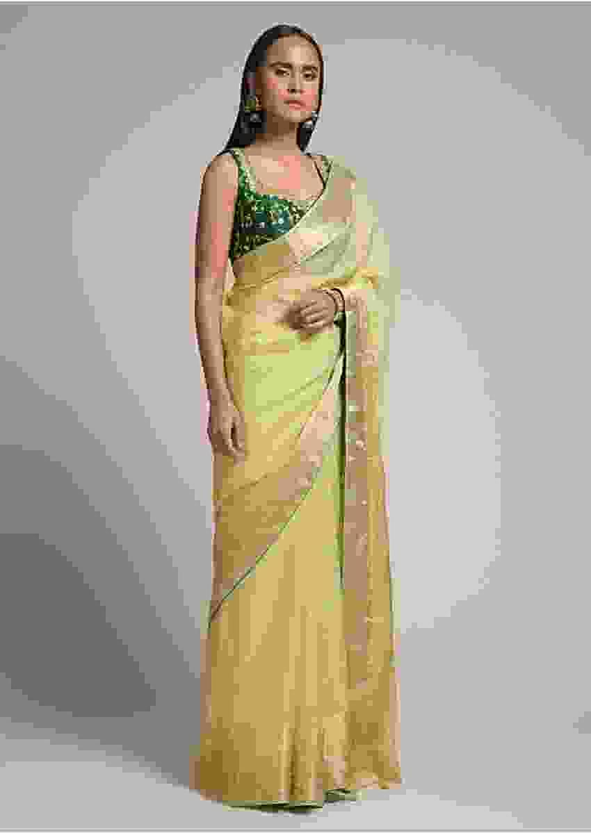 Pastel Green Saree In Kota Silk With Woven Zari Checks And Dark Green Gotta Patti Embroidered Blouse Online - Kalki Fashion