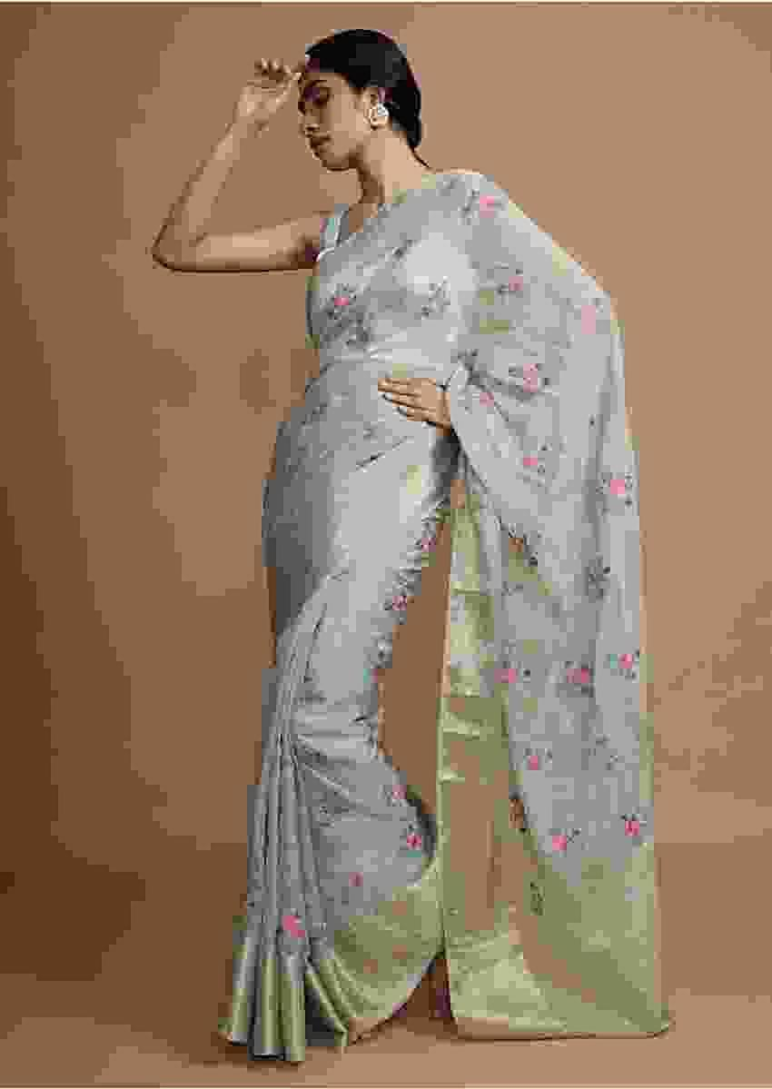 Pastel Green Saree With Weaved Border And Beautiful Resham Embroidered Floral Buttis Online - Kalki Fashion