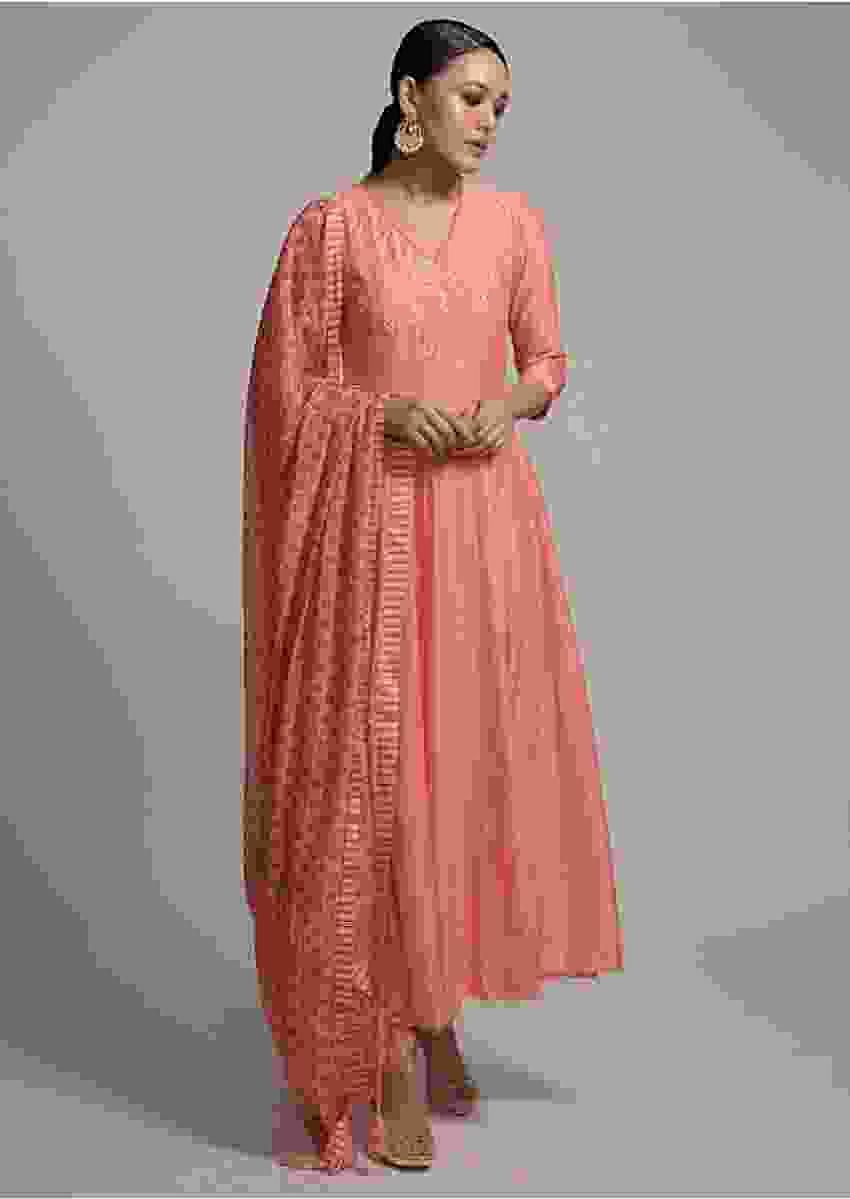 Pastel Orange Anarkali Suit In Cotton With Polka Dots And Embroidered Yoke Online - Kalki Fashion