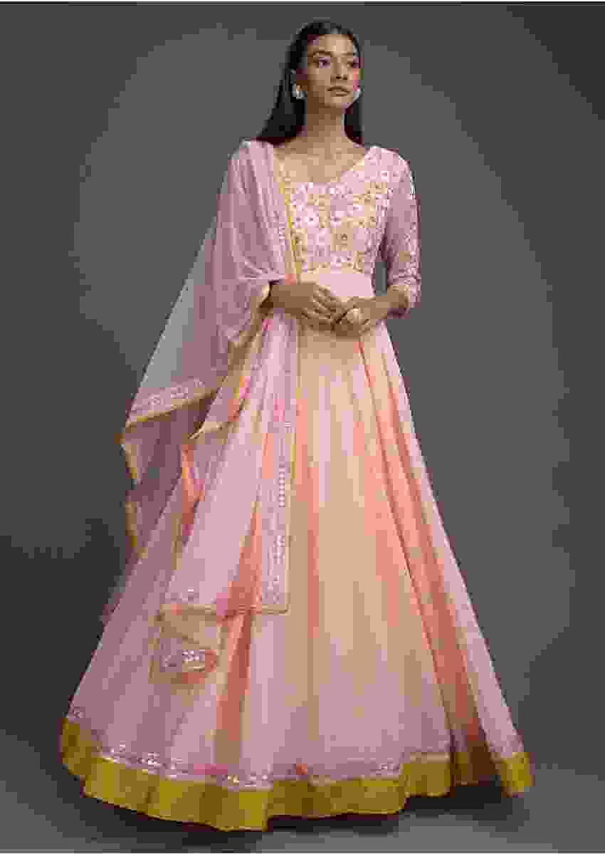 Pastel Pink Anarkali Suit With Resham Embroidered Bodice Online - Kalki Fashion