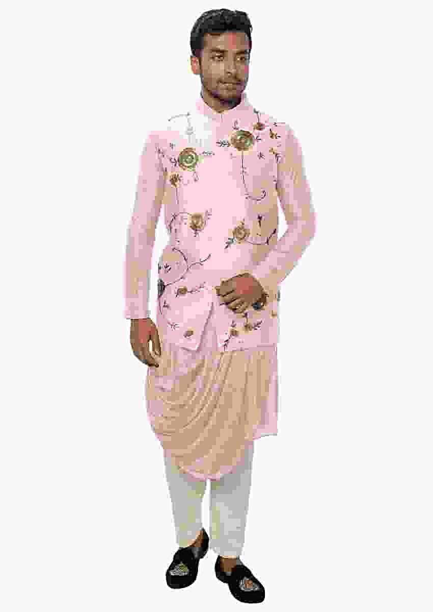 Pastel Pink Kurta With Cowl Drape With A Royal Gold, Threadwork Embroidered Nehru Jacket Online - Kalki Fashion