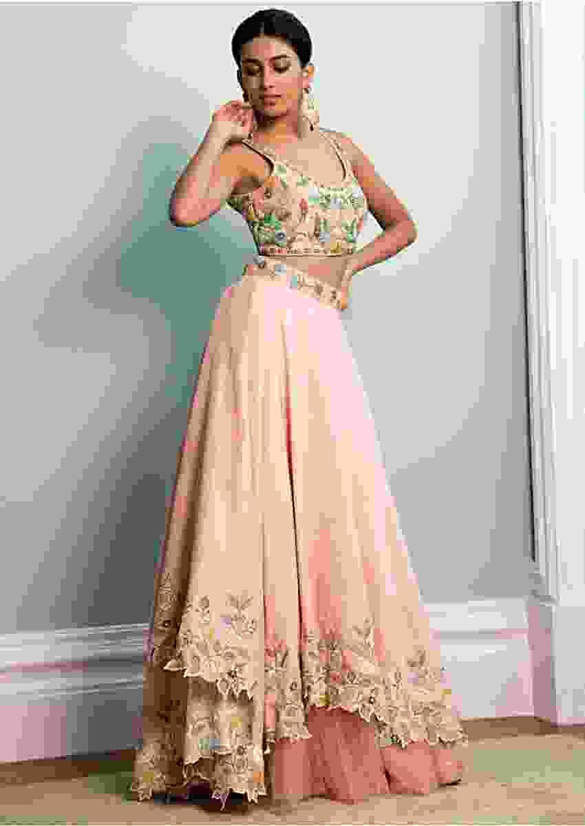 Pastel Pink Lehenga Choli In Cotton Silk With Fancy Cutout Hemline Online - Kalki Fashion