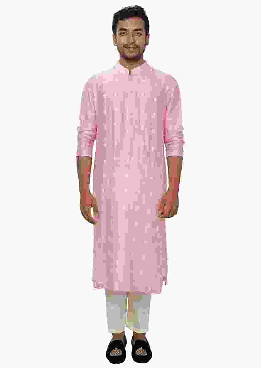 Pastel Pink Kurta Churidar Set With Threadwork Embroidery Online - Kalki Fashion