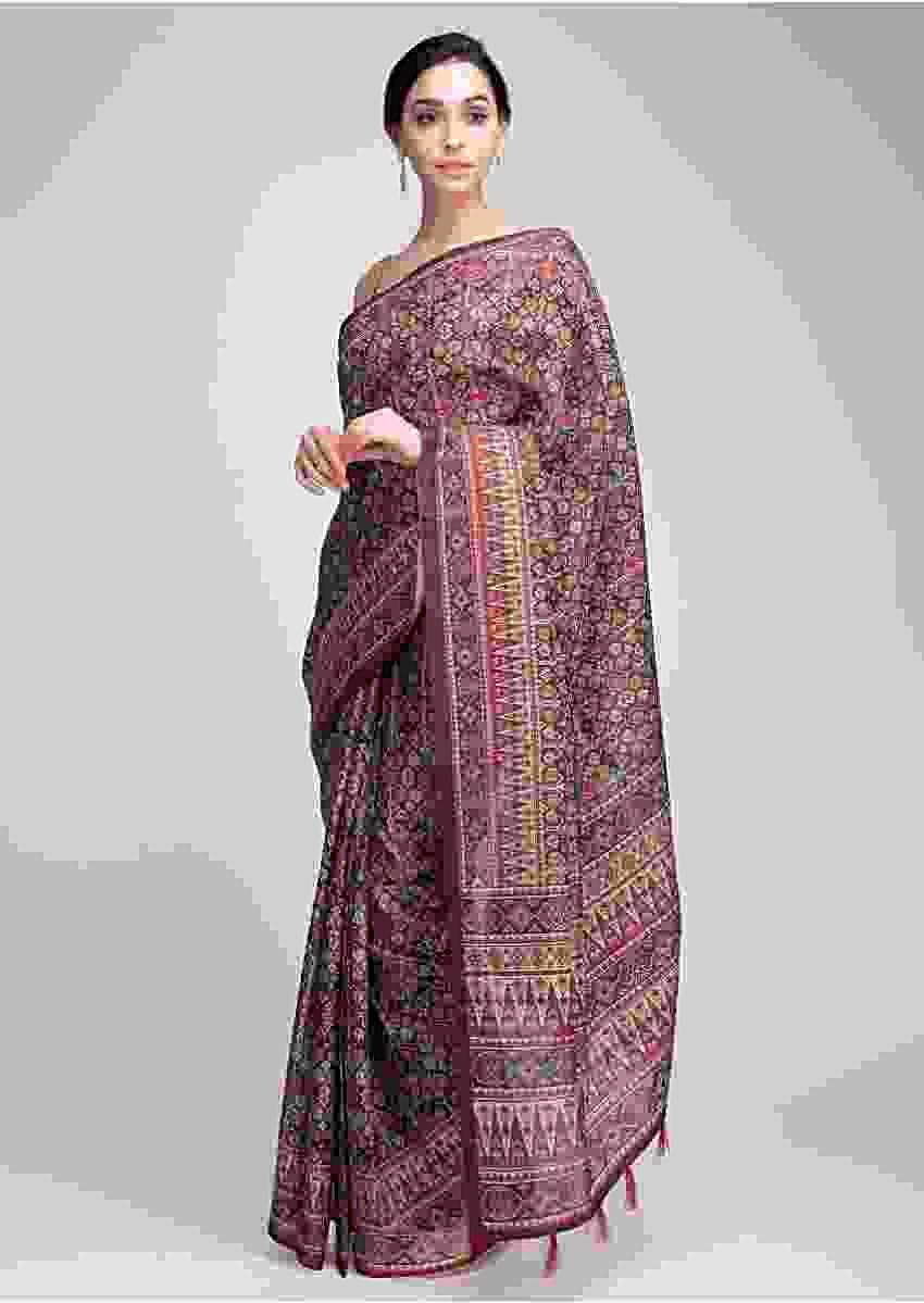 Patola Printed Mullti Color Saree In Tussar Silk With Abstract Motif Online - Kalki Fashion