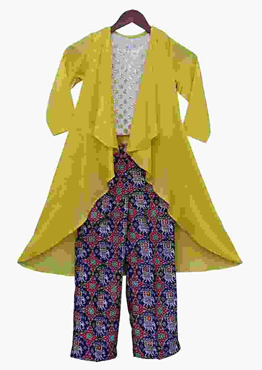 Patola Printed Straight Cut Pants And Crop Top With A Yellow Jacket By Fayon Kids