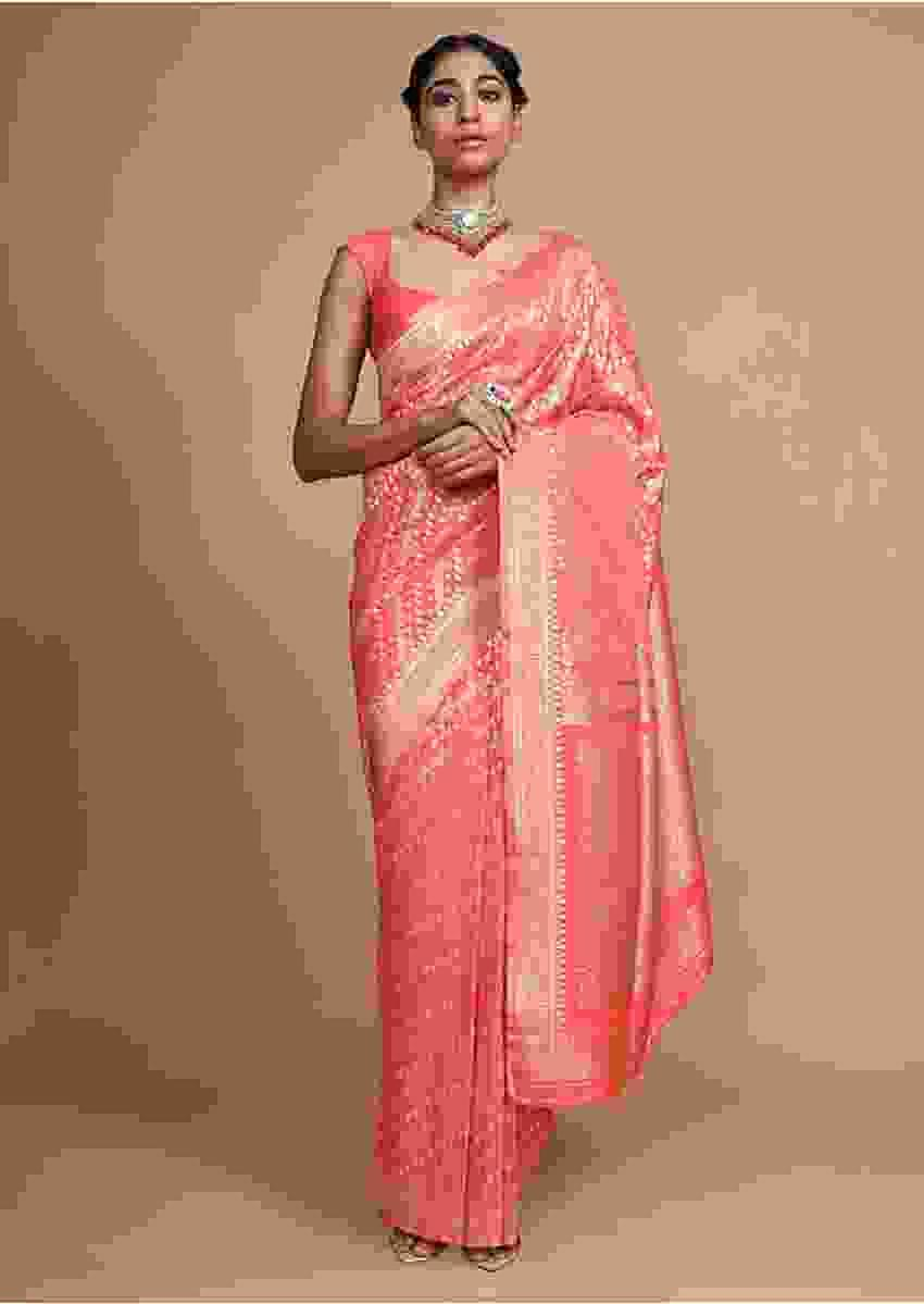 Peach Banarasi Saree In Silk With Weaved Floral Design In Diagonal Pattern Online - Kalki Fashion