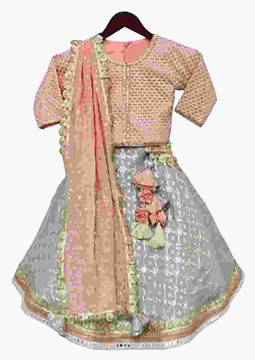 Peach Choli And Contrasting Lehenga With Weaved Checks And Abla Embroidery By Fayon Kids